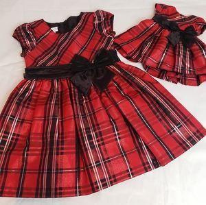 Bonnie Jean Red Plaid 4T dress matching doll dress